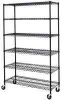 $69.99 + Free Shipping Black/Chrome Commercial 6 Tier Shelf Adjustable Steel Wire Metal Shelving Rack